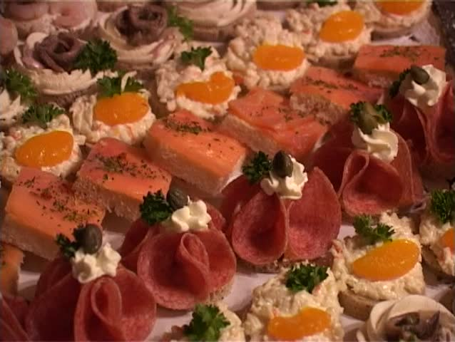 Salty canape food on the party. - SD stock footage clip