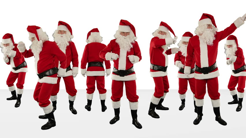 Bunch of Santa Claus Dancing Against White, Christmas Holiday Background, Alpha Matte | Shutterstock HD Video #3015502