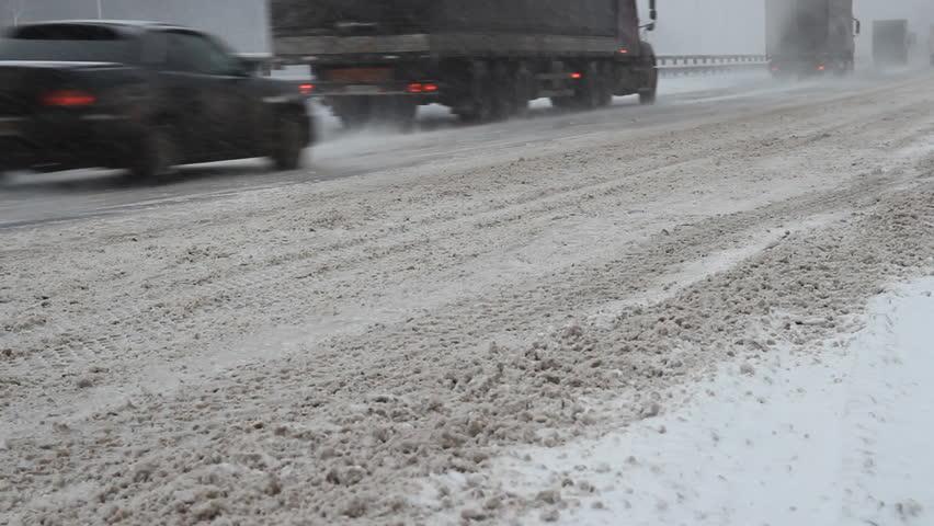 Winter traffic - HD stock video clip