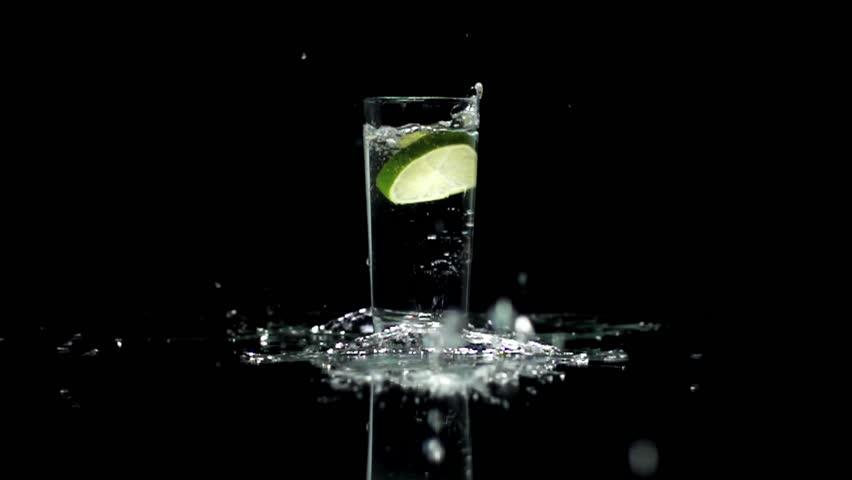 Water Drink splashing fresh drops lemon fruit slice #3027823