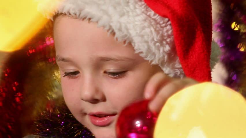 little boy dressed as Santa Claus 3 - HD stock footage clip