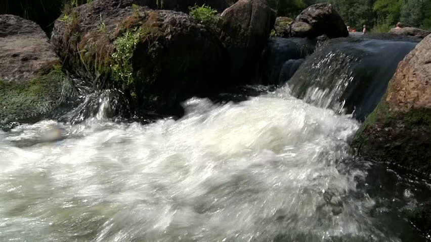 flow of water in the mountain river 4 - HD stock video clip