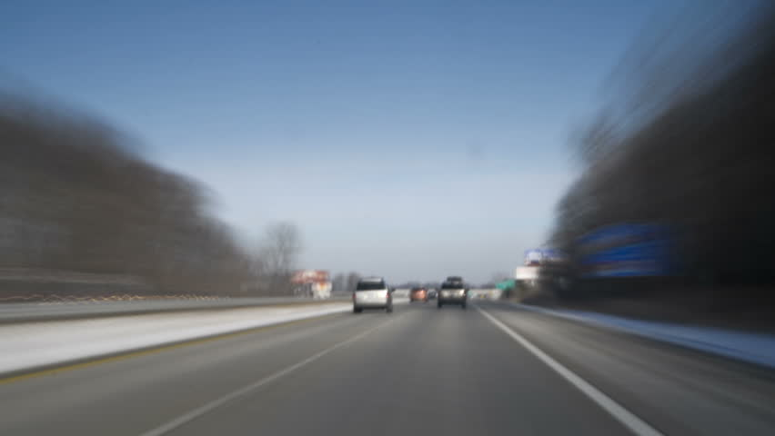 timelapse drive on highway with a trash hauling truck - HD stock video clip