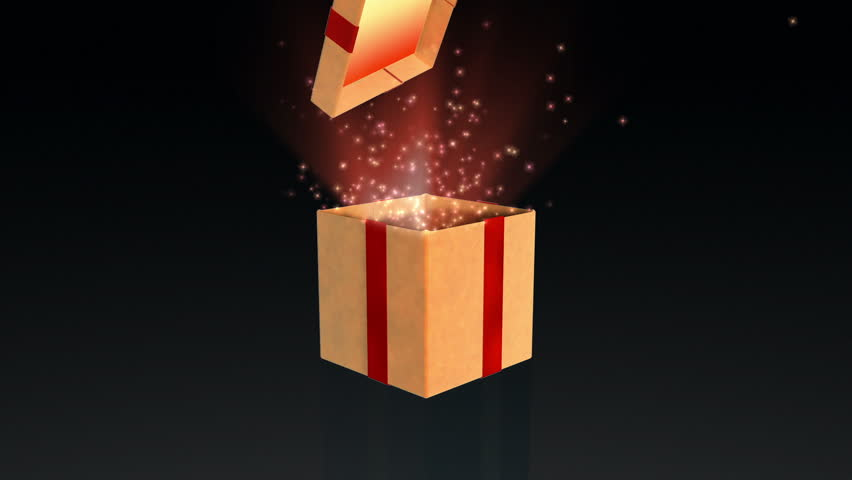 Gift box opening lid to present a virtual product with sparkles, on black
