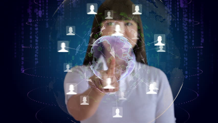 Woman touches a screen to reveal an animation of her social network