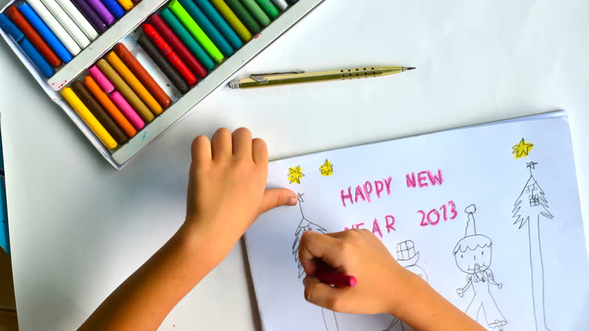 New year 2013 time lapse child drawing  - HD stock video clip