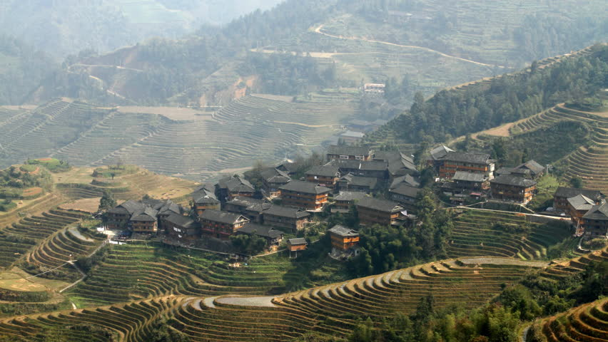 Time lapse of Longsheng Village and Terraced Rice Field at Morning- Longsheng,