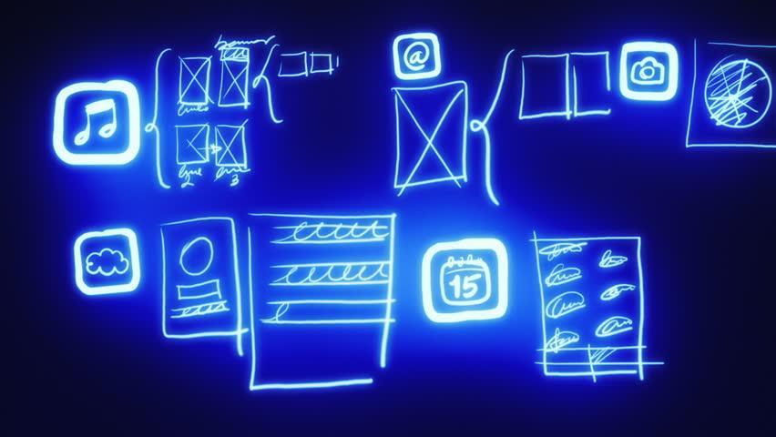 Mobile App Wireframing, Prototyping (Neon Blueprint)