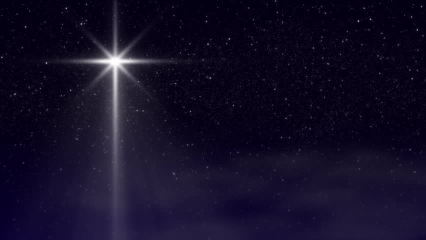 Loop. Nativity Star With Twinkling Star-filled Night Sky And Wispy ...