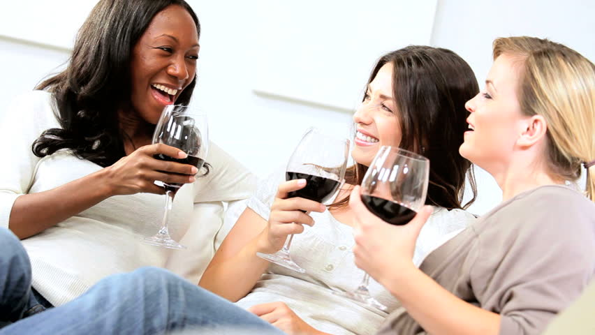 Smiling Diverse Female Friends Drinking Alcohol Stock ...