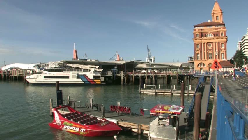 AUCKLAND, NEW ZEALAND - CIRCA JULY 2012: Aucklands Passenger Ferry Terminal In The Downtown And ...