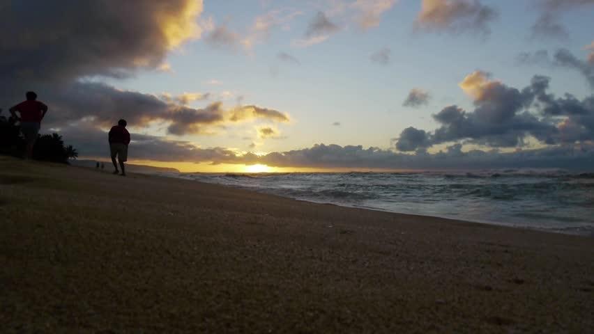 Dusk of Hawaii North Shore - HD stock video clip
