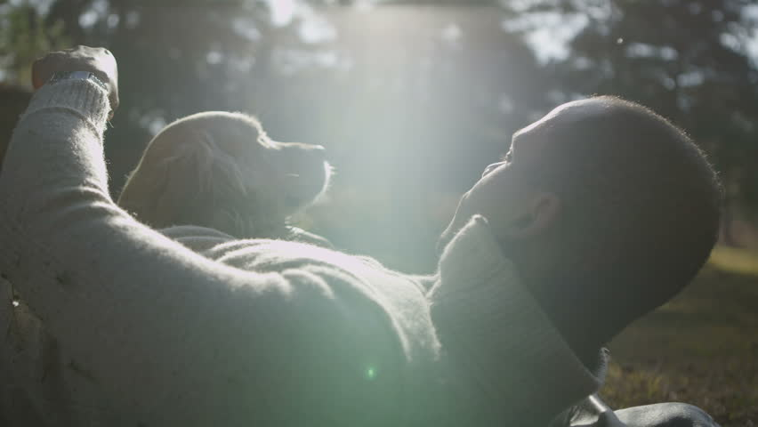 A man and his lovable pet dog laying down together in the early morning sunshine - HD stock video clip
