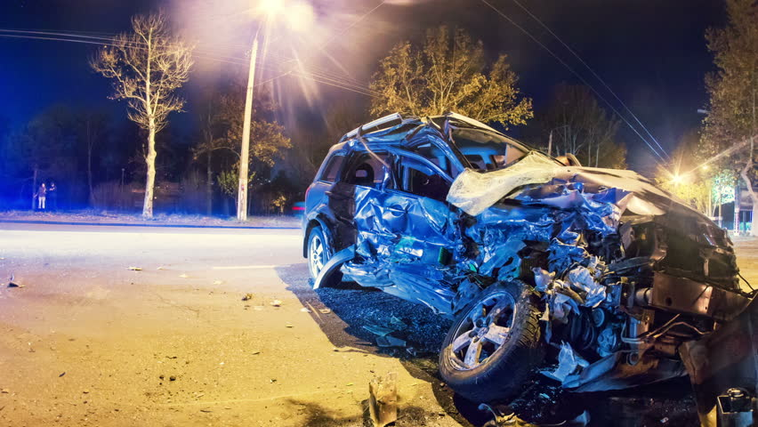 Car Accident Insurance >> Road Accident. Crashed Car On The Road Timelapse With Zoom Stock Footage Video 3122575 ...