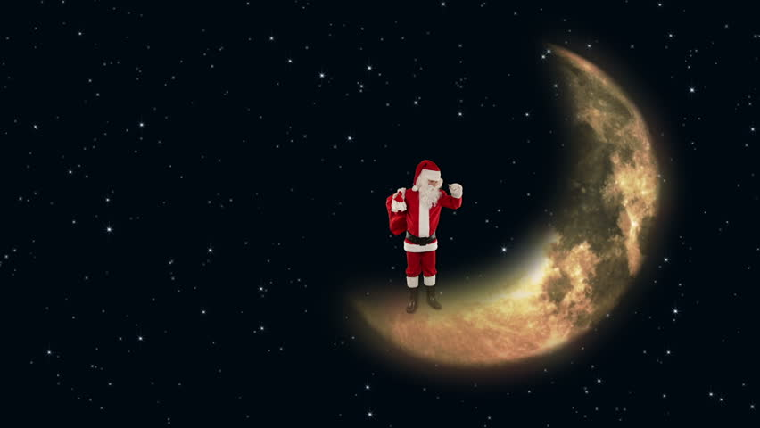 Santa Claus on Moon waiting for Reindeers with twinkling stars