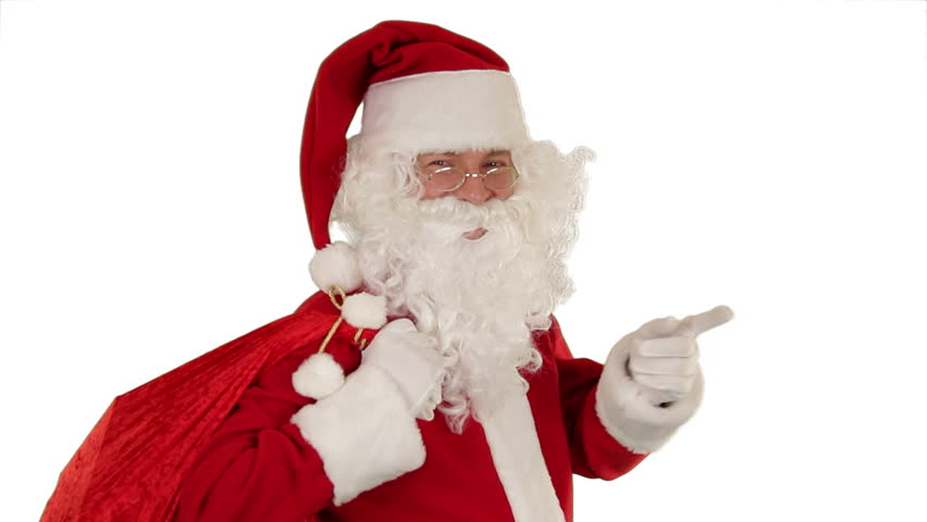 Santa Claus carrying his bag, looks at the camera sends a kiss and wave, white