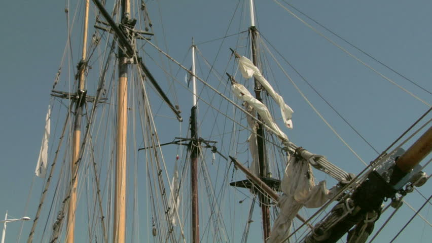 Mast of old sailing ship - HD stock footage clip