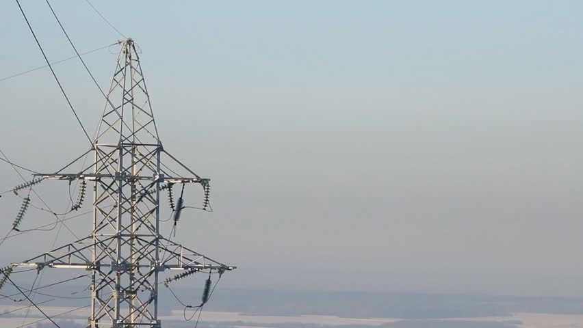 High voltage towers. winter  - HD stock footage clip