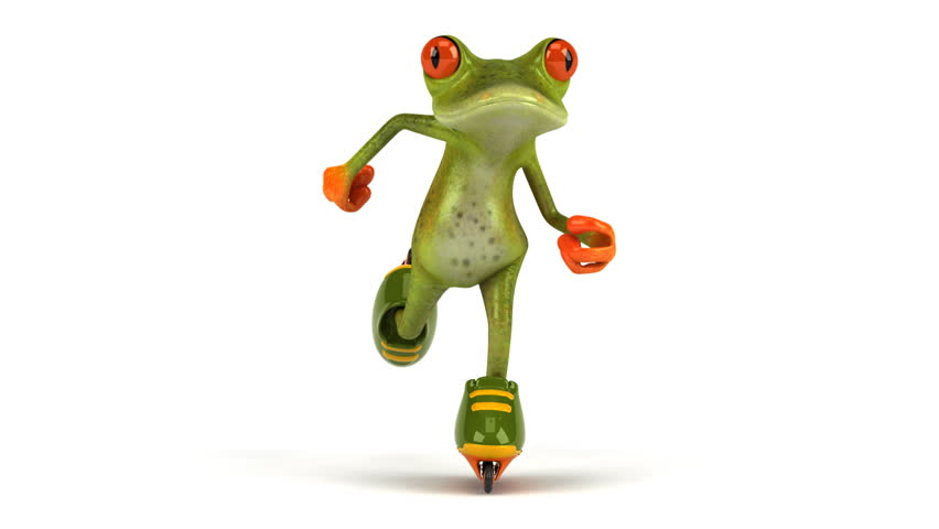 Green frog skating - HD stock video clip