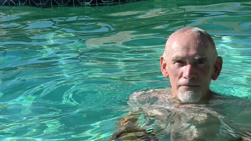 Old Man Underwater In Swimming Pool Holds Breath As He Dips Down Stock Footage Video 3136282