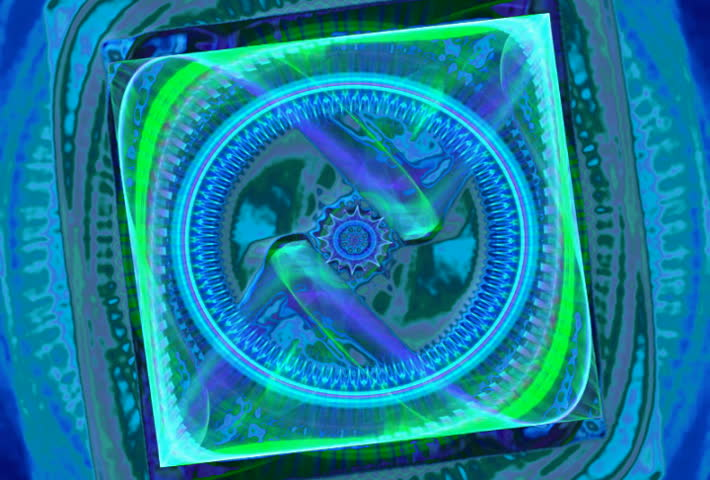 Blue and green geometric seamless loop fractal - SD stock video clip