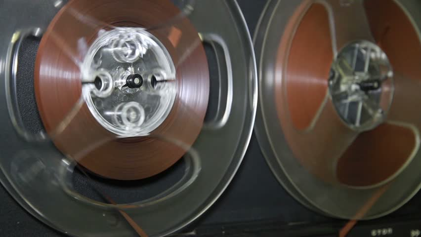 Old retro Reel Audio Recorder reels spinning - HD stock video clip