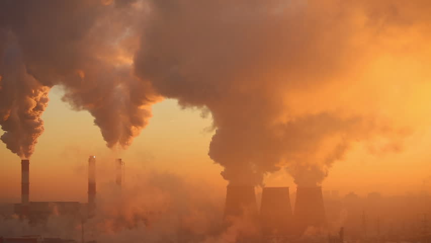 Polluting factory at dawn, time-lapse - HD stock video clip