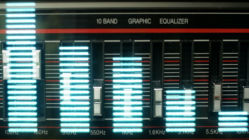 graphic equaliser form a ghettoblaster with digital display overlayed