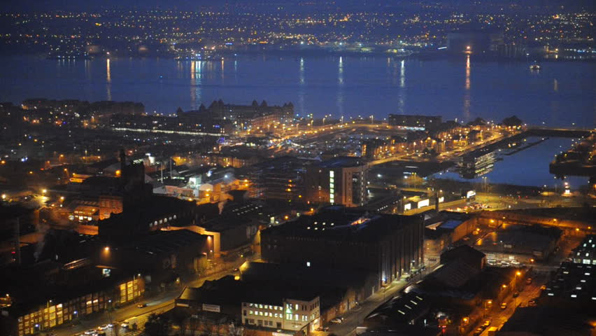 View Of Liverpool City With The Merseyside River At Night ...