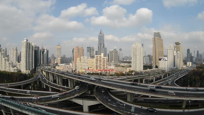 SHANGHAI, CHINA - Dec 19:  Aerial View of Shanghai busiest highway, Yan'an East