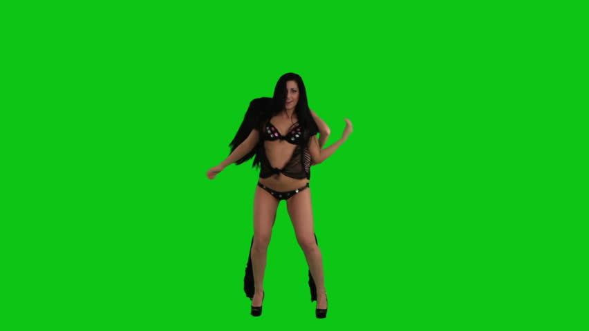 Beautiful  girls dancing against green screen - HD stock footage clip