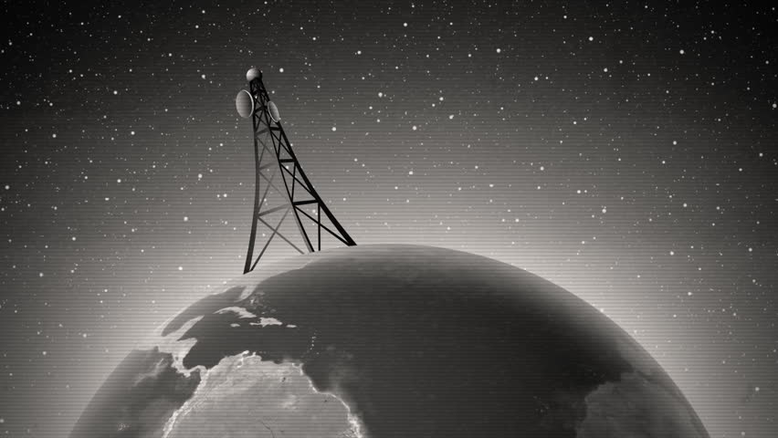 An old-fashioned graphic of an antenna transmitting a signal around the world, with audio.
