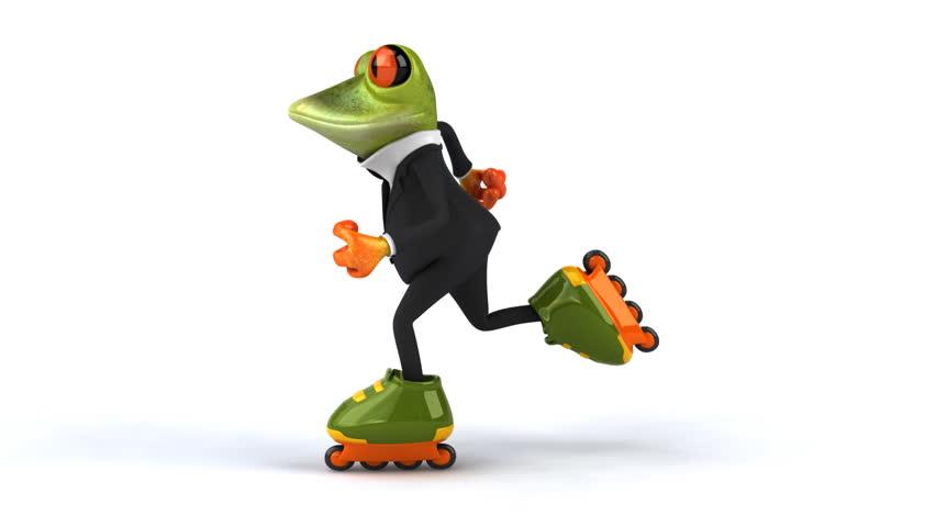 Fun frog skating  - HD stock footage clip