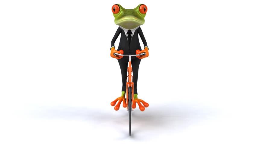 Fun frog with bike - HD stock footage clip
