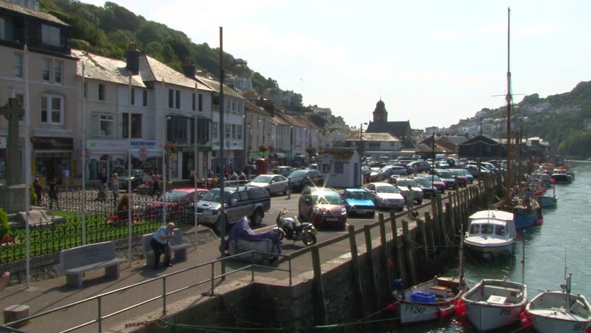 LOOE, ENGLAND - CIRCA 2011: River Looe splitting West and East Looe in Cornwall.