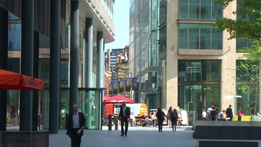 MANCHESTER, ENGLAND - CIRCA 2011: The new commercial and business Spinningfields district of central Manchester.