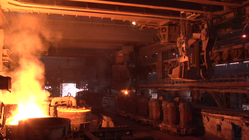 Mining and metal forging in Ukraine. Large Steel Works. Rolled metal factory. - HD stock video clip