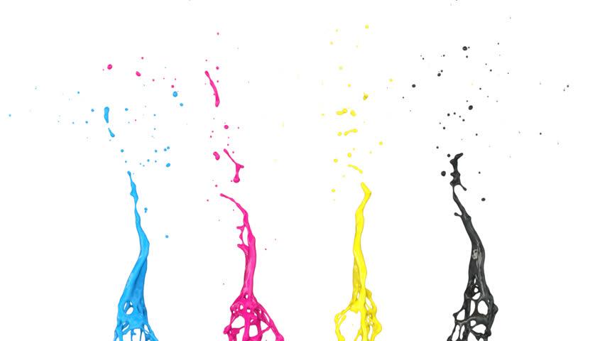 Cmyk Splash cmyk color splash in slow motion, with alpha channel (full ...