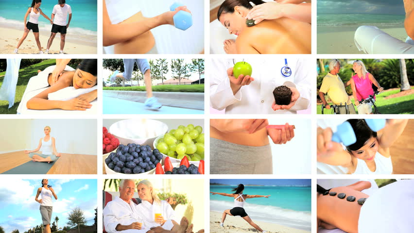 Montage images of people leading healthy lifestyles with exercise, massage, yoga & sensible eating #3239413