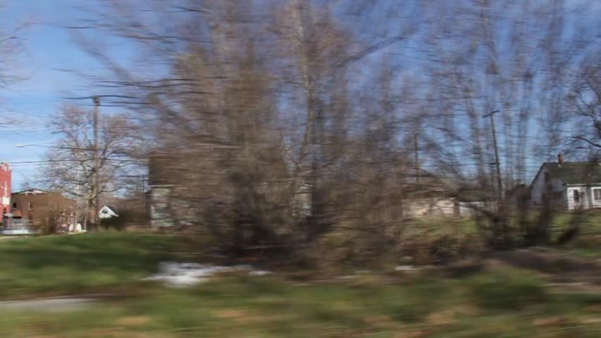 Driving through an economically depressed neighborhood of Detroit, Michigan.
