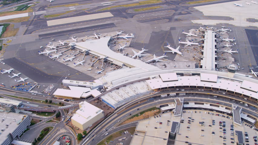 Aerial view Newark International Airport terminal departure and arrival gates, New York, USA