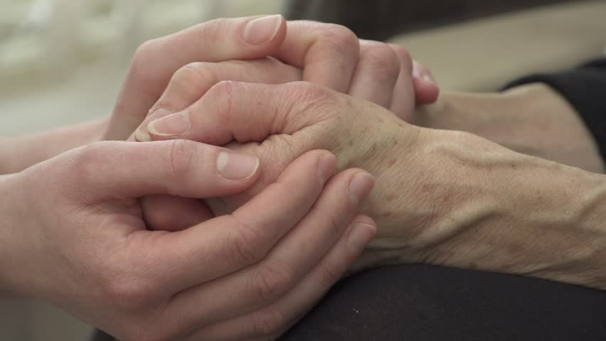 comforting hands - HD stock footage clip
