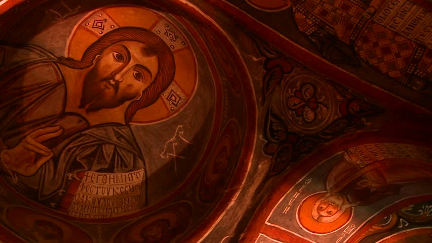 CAPPADOCIA, TURKEY, 2012 Low angle view of Christian painted ceilings in a cave near Cappadocia, Turkey. - HD stock footage clip