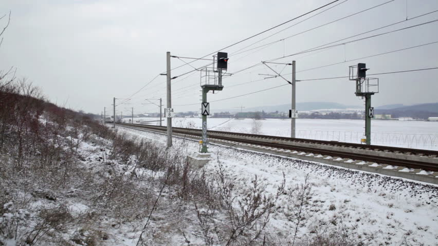WALLAU, GERMANY - JANUARY 16: A passing german highspeed train (ICE) on the Frankfurt-Cologne line on January 4, 2012. The maximum speed of these highspeed trains is around 320km/h.