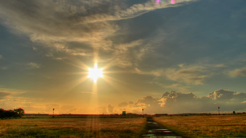 Sunset over airport, HD time lapse clip,high dynamic range imaging - HD stock footage clip