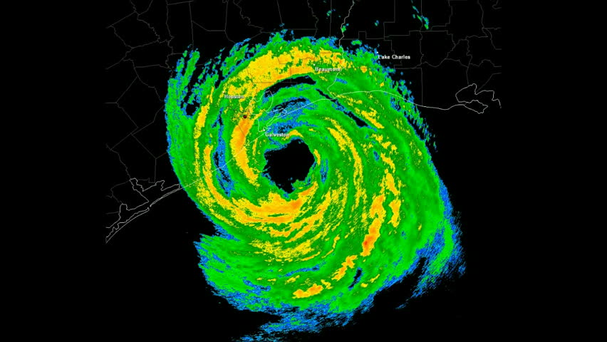 Hurricane Ike (2008) Landfall Doppler Radar Time Lapse / loop. Created using data provided by NOAA. County / State borders and geographically correct labels for all major affected cities are visible.