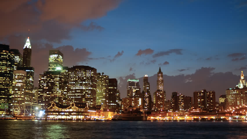 New York City skyline at dusk timelapse