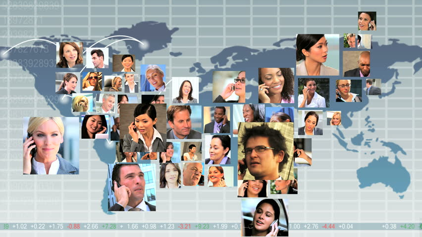 Montage CG global communication graphics with faces young multi ethnic business people making the shape of map USA