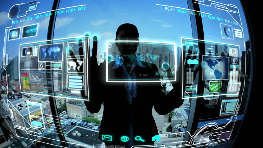 Montage images business touch screen technology
