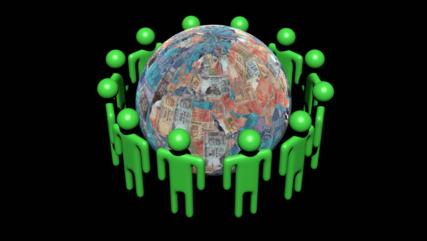 Circle of abstract people around rotating Rupees globe animation - HD stock video clip